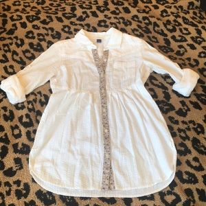 Free People White Button Down Tunic Shirt, Size 4